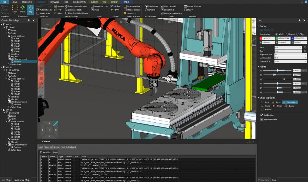 Digitaalinen kaksonen - MeteMAN-erikoiskone ja KUKA-robotti.